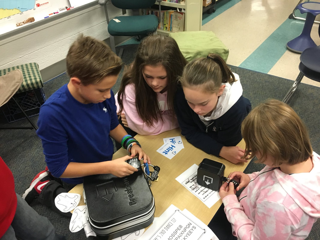 Students  Playing Breakout EDU